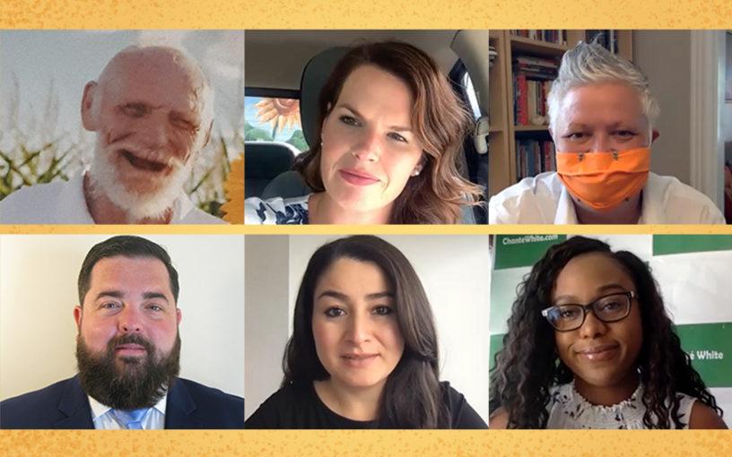 A composite image with photos of Robert Bowers, Michelle Ferreri, Joy Lachica, Paul Lawton, Maryam Monsef and Chanté White.